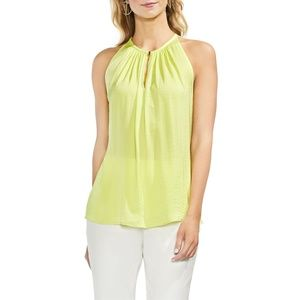 NWT Vince Camuto Lime Rumpled Satin Keyhole Top